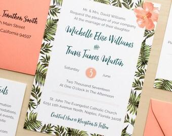 Palm Leaf and Hibiscus Wedding Invitation Suite Sample or Deposit / Tropical Hawaii Wedding / #1110