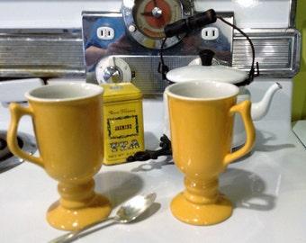 Hall Yellow Pedestal Mugs - Set of 2