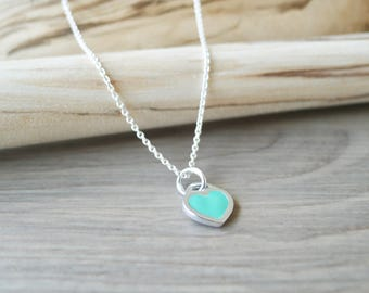 Teal Heart, Heart Necklace, Sterling Silver, Enamel Heart, Forever, Promise Necklace, Anniversary Gift, Anniversary Necklace, Minimalist