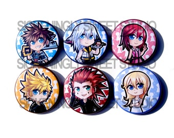 Set of 6 Kingdom Hearts II Inspired Buttons