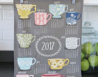 Teatime | kitchen tea towel 2017 calendar | wall hanging
