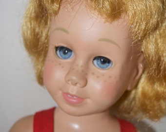 Chatty Cathy Blond Doll in Original Red Sun Suit Sunsuit Swimsuit 1959