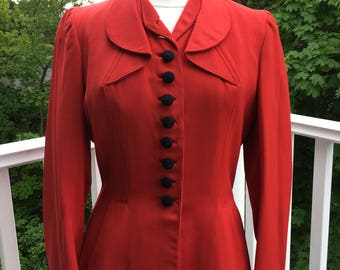 Cherry Red 1940's wool gabardine fitted jacket- medium