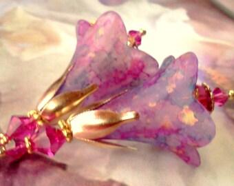 Hand Painted Earrings, Lucite Earrings, Vintage Style Earrings, Flower Earrings, Victorian Earrings, Lucite Flower Earrings, Bridal Earrings