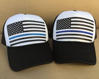 American Flag Thin Blue Line Hat - Snap Back Trucker - Black Glitter and Blue Glitter - Patriotic United States of America