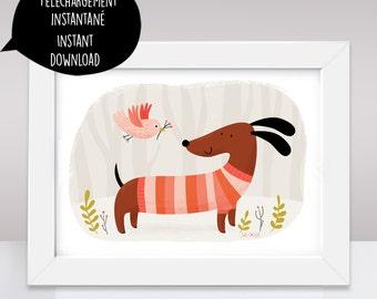 dachshund, dachshund art, dog art, dog art print, dog print, dog printable, doxie, dog wall art, sausage dog, dog wall decor, dog
