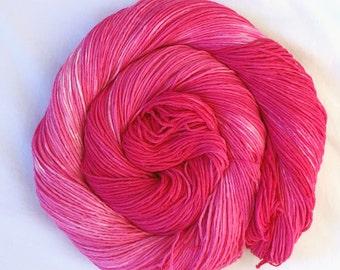 Hand Dyed Cotton Yarn Australian Grown 4ply fingering Pink! 100g 324m