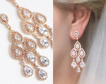 Rose Gold Bridal Earrings Wedding Long Drop Earrings Bridal Jewelry Wedding Earrings Long Drop Earrings Chandelier Earrings E147B245RG