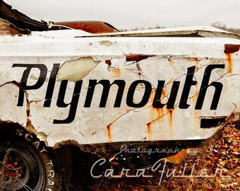Plymouth Emblem on rusty rear quarter panel of a Road Runner Photograph