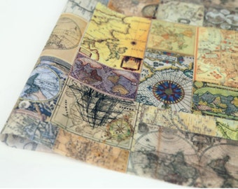 Laminated Cotton Fabric Map By The Yard