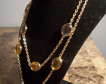 Vintage Style Gold Toned Long Multi Color Stone Necklace