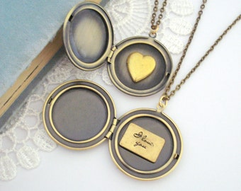Add Into a Locket, Customise Jewelry, Personalised Jewelry, Dainty Vintage Heart Locket, Love Letter Message, Gift for Her