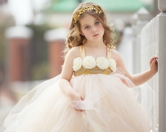 Blush Flower Girl Dress, Blush Tutu Dress, Blush Tulle Dress, Blush Dress, Gold Flower Girl Dress, Gold Tutu Dress, Gold Tulle Dress, Gold