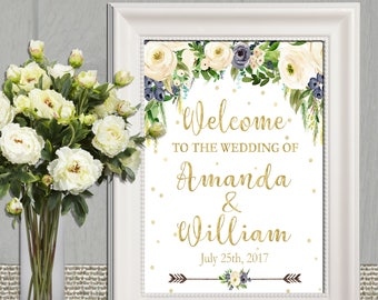 Blue and gold Welcome Wedding sign Watercolor Floral Wedding Welcome Sign Printable Personalized Bridal Shower Welcome Sign Instant Download