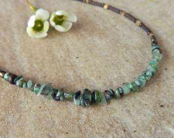Rough Emerald Gemstone Necklace/ Boho/  Earthy/ Rustic Beaded Necklace/  Perfect for Layering
