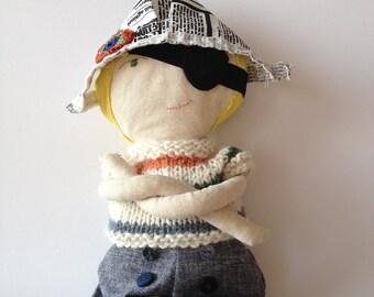 Folly Mae handmade cloth doll / sailor boy doll / heirloom gift for boy / waldorf-inspired cloth doll  / EMMET