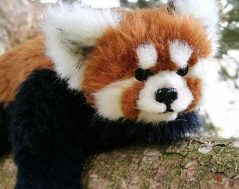 Red panda OOAK art doll posable doll creature doll