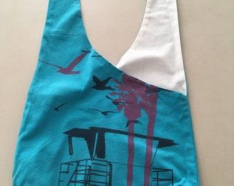 Handmade Upcycled Blue Print Hobo Shoulder Purse