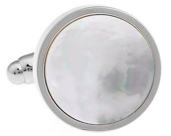 Silver Mother of Pearl Formal Round Pure Cuff Links Cufflinks