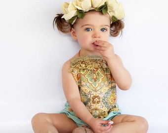 Baby Romper Baby Girl Clothing Teal Romper Playsuit Birthday Girl Beach romper Boho Romper Jumper Newborn Toddler Boho Baby Shower Bohemian