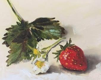 Strawberry still life, original oil painting on panel 15x15cm