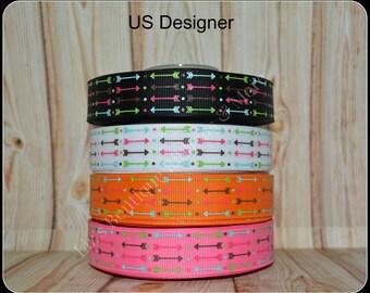 Tribal Arrow ribbons / US Designer ribbon / USD ribbon / 3 yards / US Designer grosgrain ribbon / 7/8 ribbon / tribal ribbon / arrows ribbon