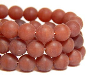8mm Red Brown Beads, Brown Frosted Beads, Brown Matte Beads, Brownish Red Beads, Reddish Brown Beads, 8mm Round Matte Beads, T-19B