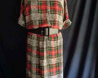 1980's plaid tartan dress light fabric