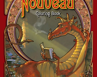 Dragon and Unicorn COLORING Book, Fantasy Nouveau , Adult coloring books of dragons, The Art of Herb Leonhard