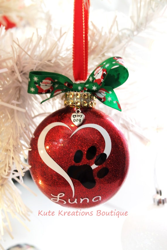 Heart paw print ornament personalized ornaments pet name paw for Decoration names for christmas