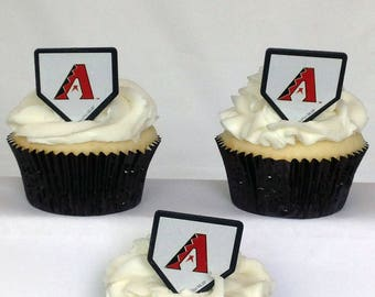 12 Arizona Diamondbacks Cupcake Rings MLB Baseball Toppers Party Favors
