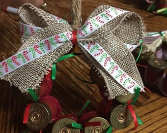 Shotgun shell wreath ornament candy cane & burlap
