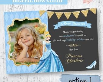 Cinderella Photo Thank you.Blue Cinderella Birthday Thank you.Blue Gold Thank You. Cinderella Glitter Photo Thank you. Cinderella Birthday.