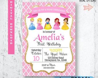 Disney Princess Invitation. Disney Princesses Birthday Invitation. Gold Glitter Disney Princess Invitation. Glitter Disney Princess Invites