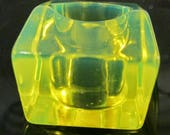 Vintage Fluorescent Green Geometric Lucite Cocktail Ring , Size 6.5US