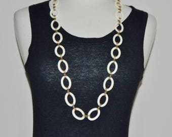 """Vintage Monet Extra large Lucite  Carved Chain Necklace with Interlocking Gold Hardware: 17"""""""