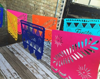 Fiesta Papel Picado Banner/Bunting - Party Banner with maracas detail