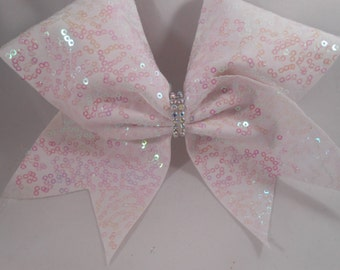 Cheer Bow White with White Pearl Sequins by BlingItOnCheerBowz