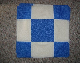 13 quilt blocks-nine patch quilt block-1 off white and 2 different blue fabrics