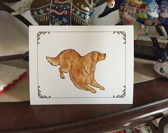 Playful Golden Retriever Blank Notecard