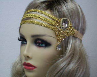 Gold Bridal Headpiece, Flapper Accessory, Belly Dance Costume, Bohemian Headpiece, 20s Art Deco, Jewelry Head Piece, Bollywood Bride