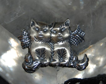 Vintage Double Fairy Angel Winged Butterfly Bowed Familiar Kitty Cat Pair Feline Sterling  925 Lost Pet Memorial #BKC-KBRCH123