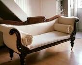 Antique Victorian Sofa Scroll Arm 19th Century