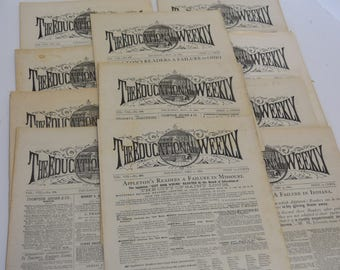 "Set of 11 1880-1881 ""The Educational Weekly"" Magazines"