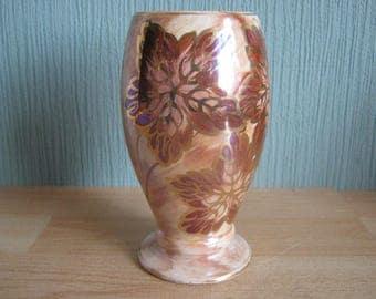 Vintage Oldcourt Ware Hand Painted Vase With Leaf Decoration