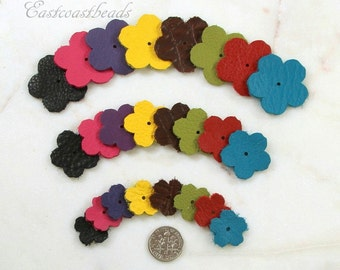 24 Leather Flowers, TierraCast, Die Cut Leather Flowers, Small, Medium And Large, Leather Flowers, Leather Craft, Multi Colored, 24 Pcs