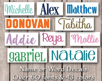 Name Decal / Vinyl Name Decal / Name Sticker / Personalized Decal / Word Decal / Custom Name Decal / Name Label / Waterproof Vinyl Decal