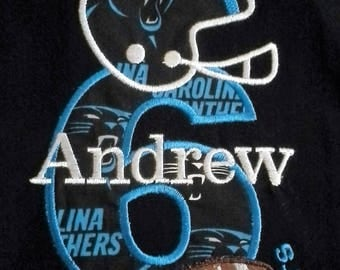 ORDER FOR snapcase FOOTBALL Carolina Panthers Birthday shirt with name and number in your choice of team colors, embroidered,applique