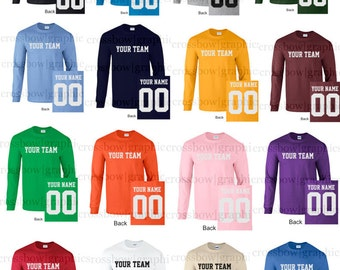 CUSTOM Long Sleeve T-Shirt JERSEY Personalized Any Color, Name, Number, Team Softball Baseball Football