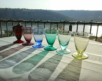 Set of 6 MCM Vintage Multicolor Cordial/Aperitif Glasses
